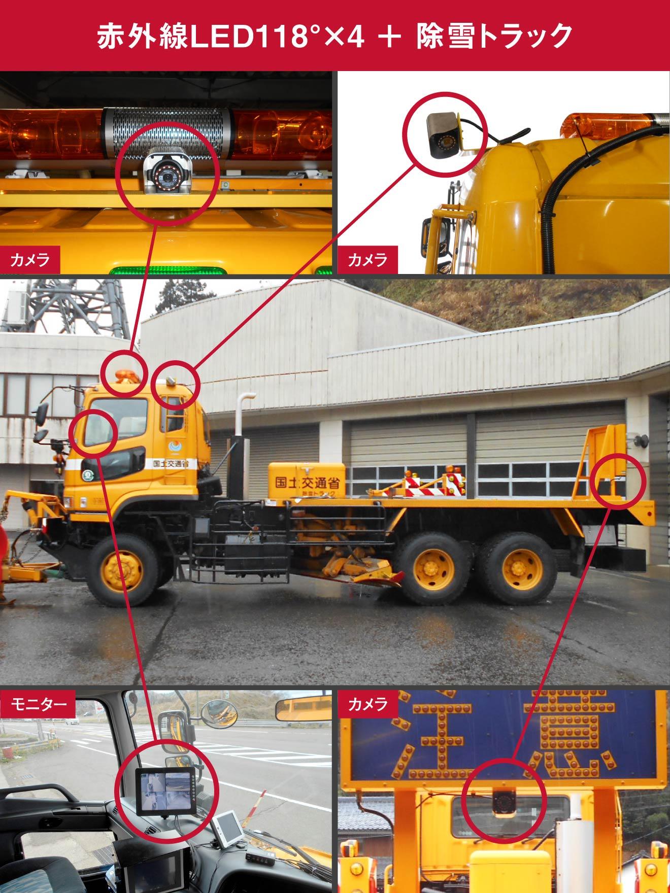 赤外線LED118°×4 + 除雪トラック