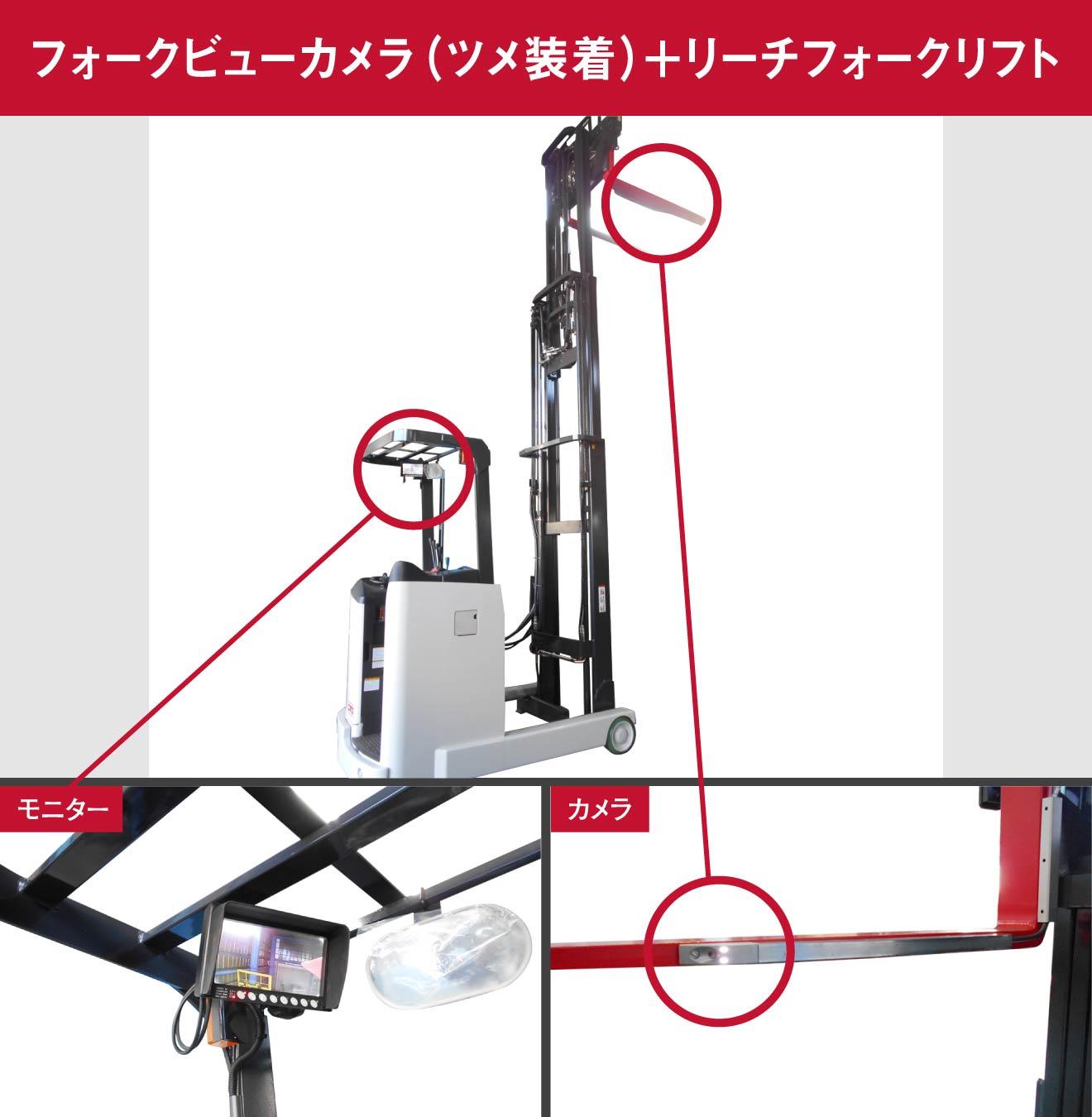 フォークビューカメラ(ツメ装着)+リーチフォークリフト