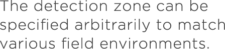 The detection zone can be specified arbitrarily to match various field environments.